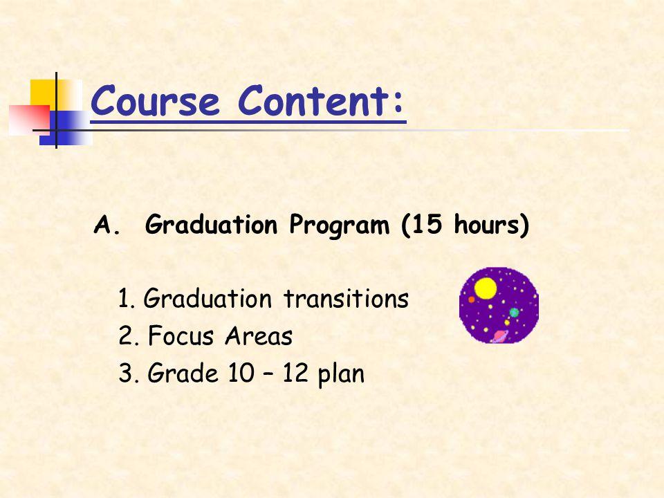 A. Graduation Program (15 hours) 1. Graduation transitions 2.