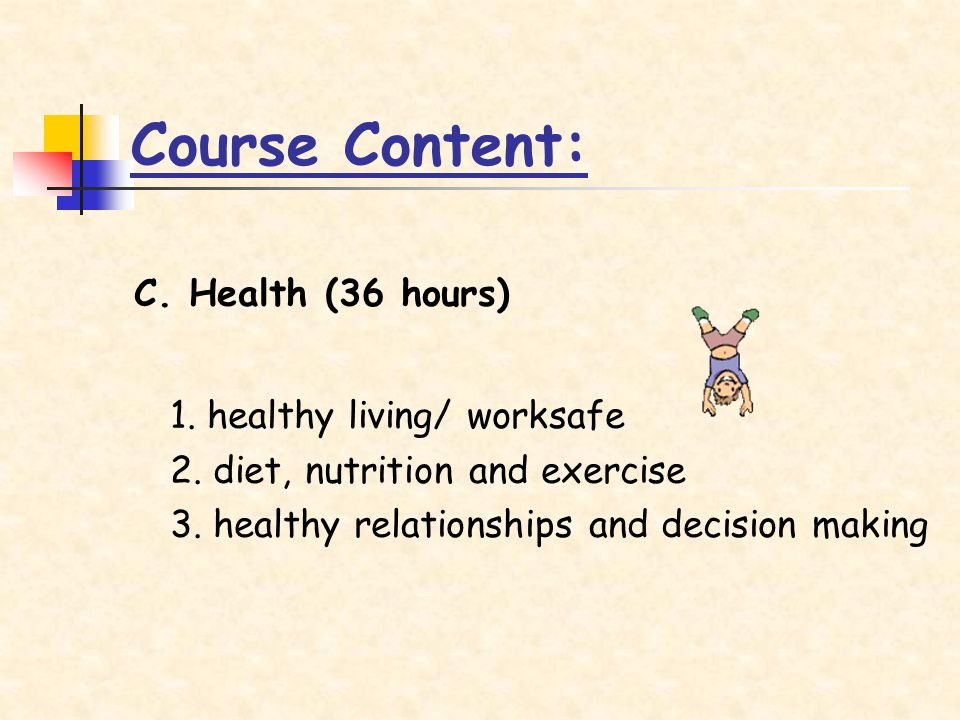 C. Health (36 hours) 1. healthy living/ worksafe 2.