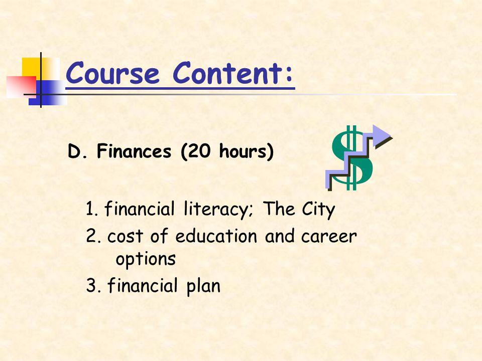 Course Content: D. Finances (20 hours) 1. financial literacy; The City 2.