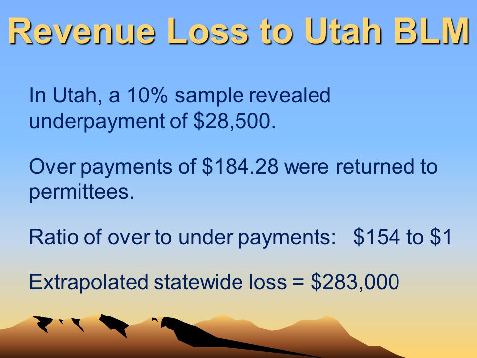 Revenue Loss to Utah BLM In Utah, a 10% sample revealed underpayment of $28,500. Over payments of $184.28 were returned to permittees. Ratio of over t