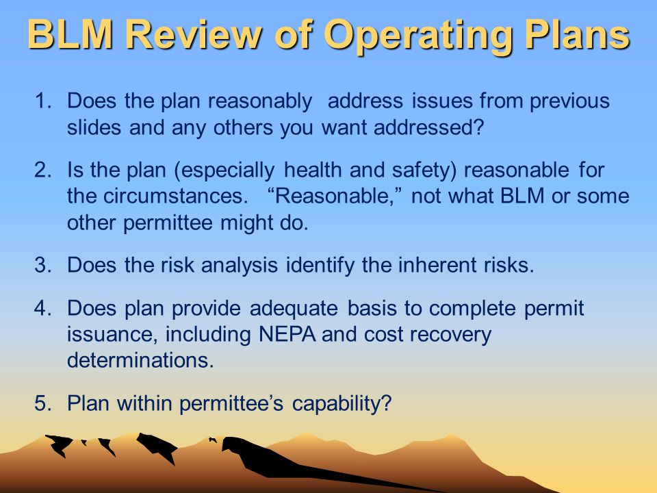 1.Does the plan reasonably address issues from previous slides and any others you want addressed? 2.Is the plan (especially health and safety) reasona