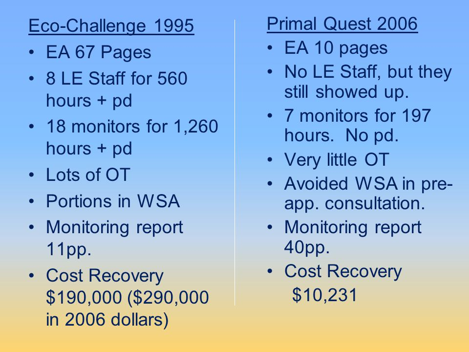 Eco-Challenge 1995 EA 67 Pages 8 LE Staff for 560 hours + pd 18 monitors for 1,260 hours + pd Lots of OT Portions in WSA Monitoring report 11pp. Cost