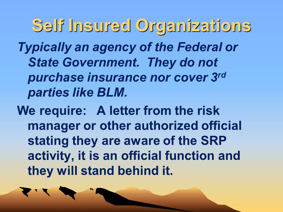 Self Insured Organizations Typically an agency of the Federal or State Government. They do not purchase insurance nor cover 3 rd parties like BLM. We