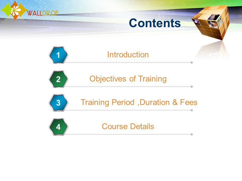 Contents Introduction 1 Objectives of Training 2 Training Period,Duration & Fees 3 Course Details 4