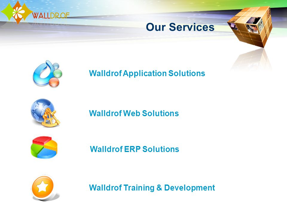 Our Services Walldrof Web Solutions Walldrof Application Solutions Walldrof ERP Solutions Walldrof Training & Development