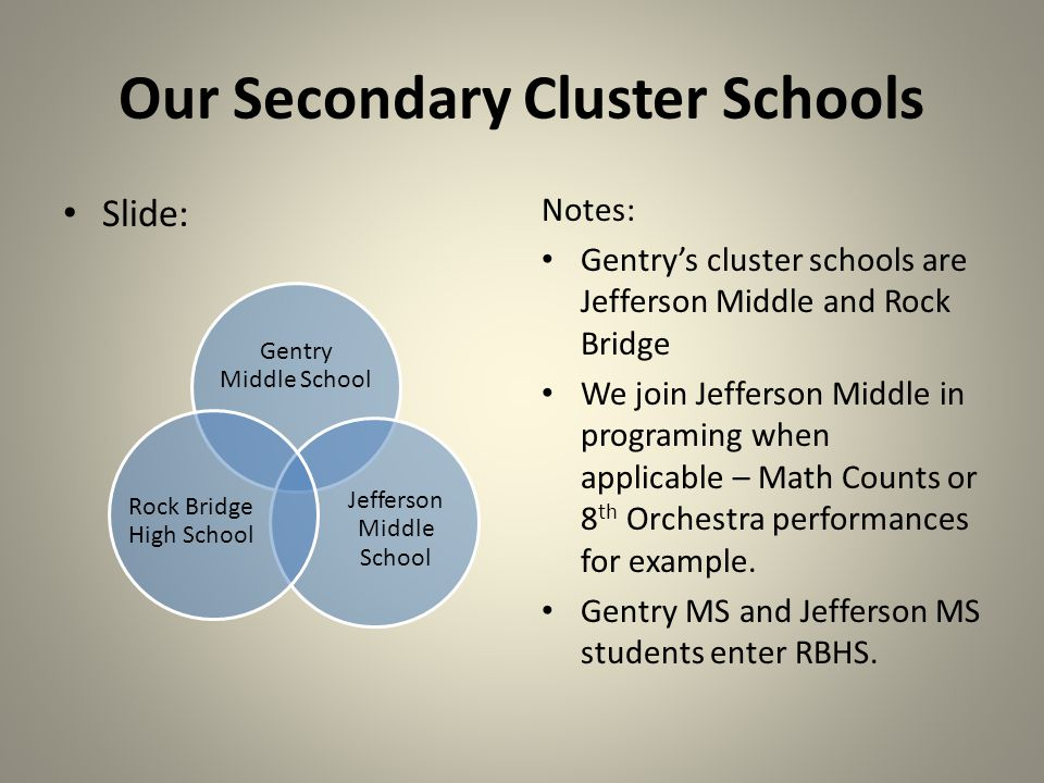 Our Secondary Cluster Schools Slide: Notes: Gentrys cluster schools are Jefferson Middle and Rock Bridge We join Jefferson Middle in programing when applicable – Math Counts or 8 th Orchestra performances for example.