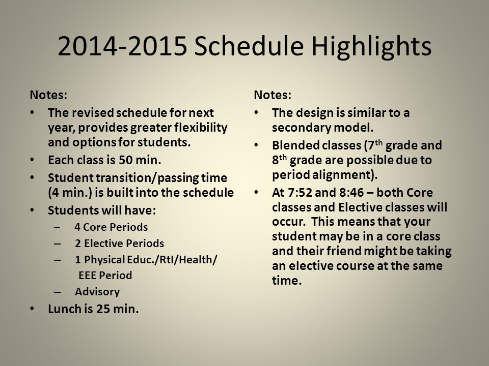 2014-2015 Schedule Highlights Notes: The revised schedule for next year, provides greater flexibility and options for students.