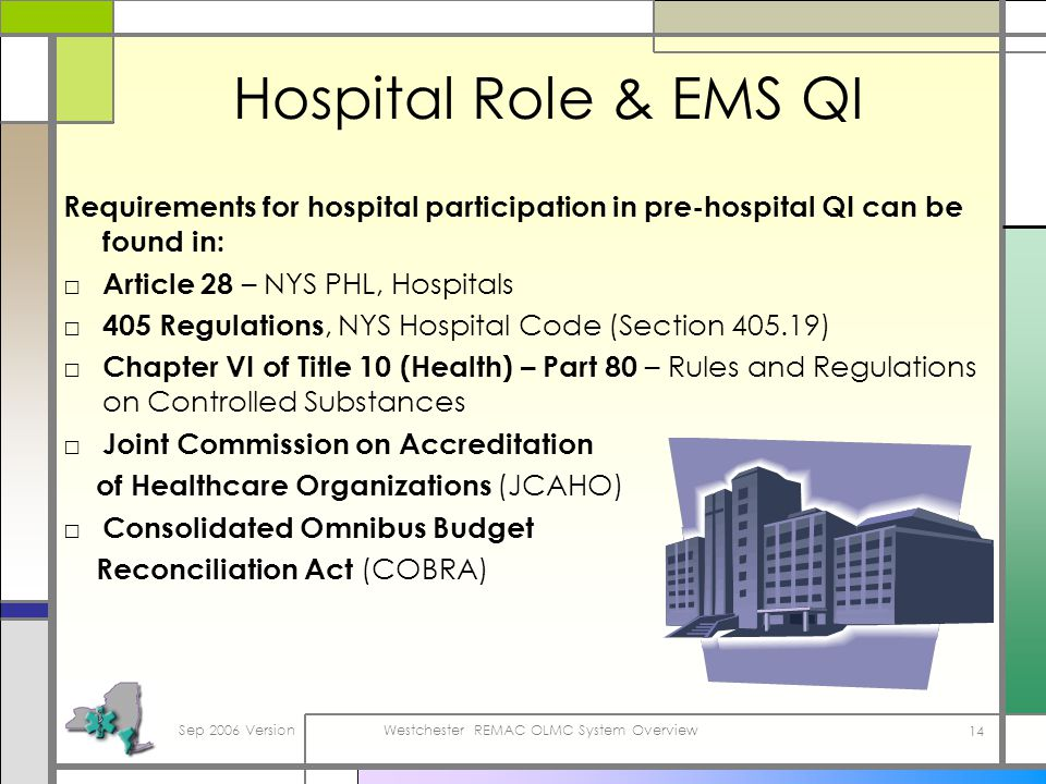 Sep 2006 VersionWestchester REMAC OLMC System Overview 14 Hospital Role & EMS QI Requirements for hospital participation in pre-hospital QI can be found in: Article 28 – NYS PHL, Hospitals 405 Regulations, NYS Hospital Code (Section 405.19) Chapter VI of Title 10 (Health) – Part 80 – Rules and Regulations on Controlled Substances Joint Commission on Accreditation of Healthcare Organizations (JCAHO) Consolidated Omnibus Budget Reconciliation Act (COBRA)
