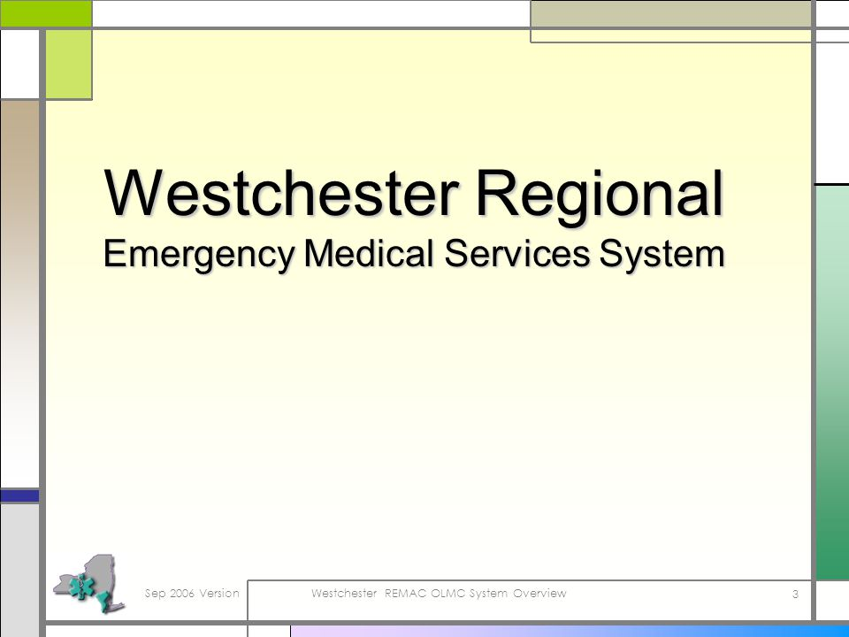 Sep 2006 VersionWestchester REMAC OLMC System Overview 3 Westchester Regional Emergency Medical Services System