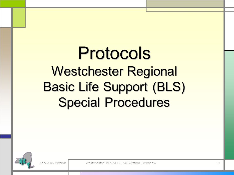 Sep 2006 VersionWestchester REMAC OLMC System Overview 31 Protocols Westchester Regional Basic Life Support (BLS) Special Procedures