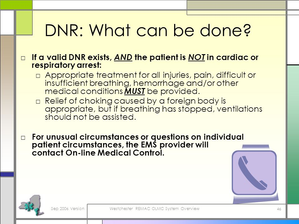 Sep 2006 VersionWestchester REMAC OLMC System Overview 46 DNR: What can be done.