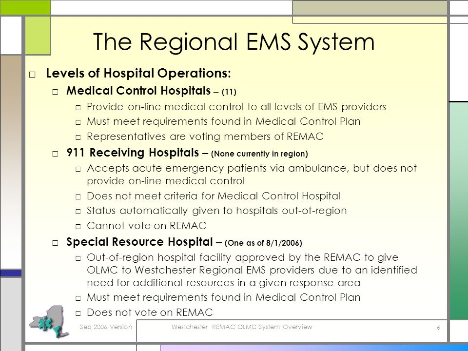 Sep 2006 VersionWestchester REMAC OLMC System Overview 6 The Regional EMS System Levels of Hospital Operations: Medical Control Hospitals – (11) Provide on-line medical control to all levels of EMS providers Must meet requirements found in Medical Control Plan Representatives are voting members of REMAC 911 Receiving Hospitals – (None currently in region) Accepts acute emergency patients via ambulance, but does not provide on-line medical control Does not meet criteria for Medical Control Hospital Status automatically given to hospitals out-of-region Cannot vote on REMAC Special Resource Hospital – (One as of 8/1/2006) Out-of-region hospital facility approved by the REMAC to give OLMC to Westchester Regional EMS providers due to an identified need for additional resources in a given response area Must meet requirements found in Medical Control Plan Does not vote on REMAC