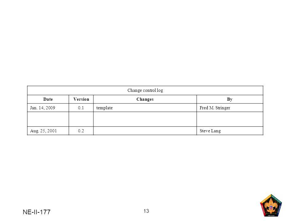 NE-II-177 13 Change control log DateVersionChangesBy Jan.