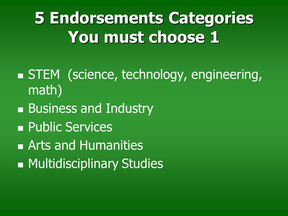 5 Endorsements Categories You must choose 1 STEM (science, technology, engineering, math) Business and Industry Public Services Arts and Humanities Mu