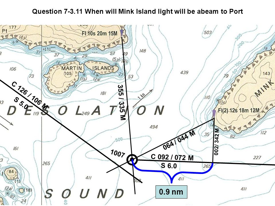 C 126 S 5.0 / 106 M 355 / 335 M 1007 Question 7-3.11 When will Mink Island light will be abeam to Port 064 / 044 M C 092 S 6.0 / 072 M 0.9 nm 002 / 342 M