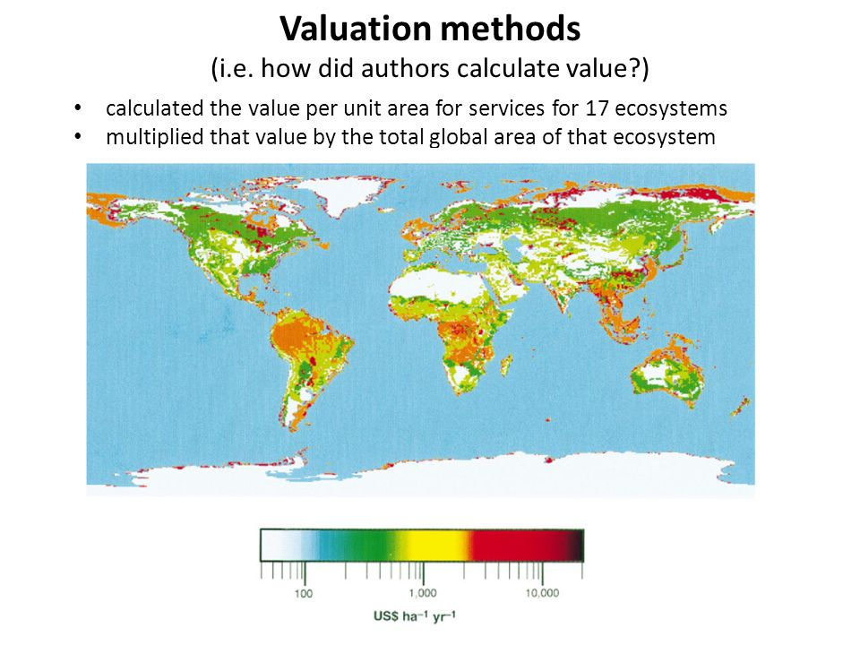 calculated the value per unit area for services for 17 ecosystems multiplied that value by the total global area of that ecosystem Valuation methods (
