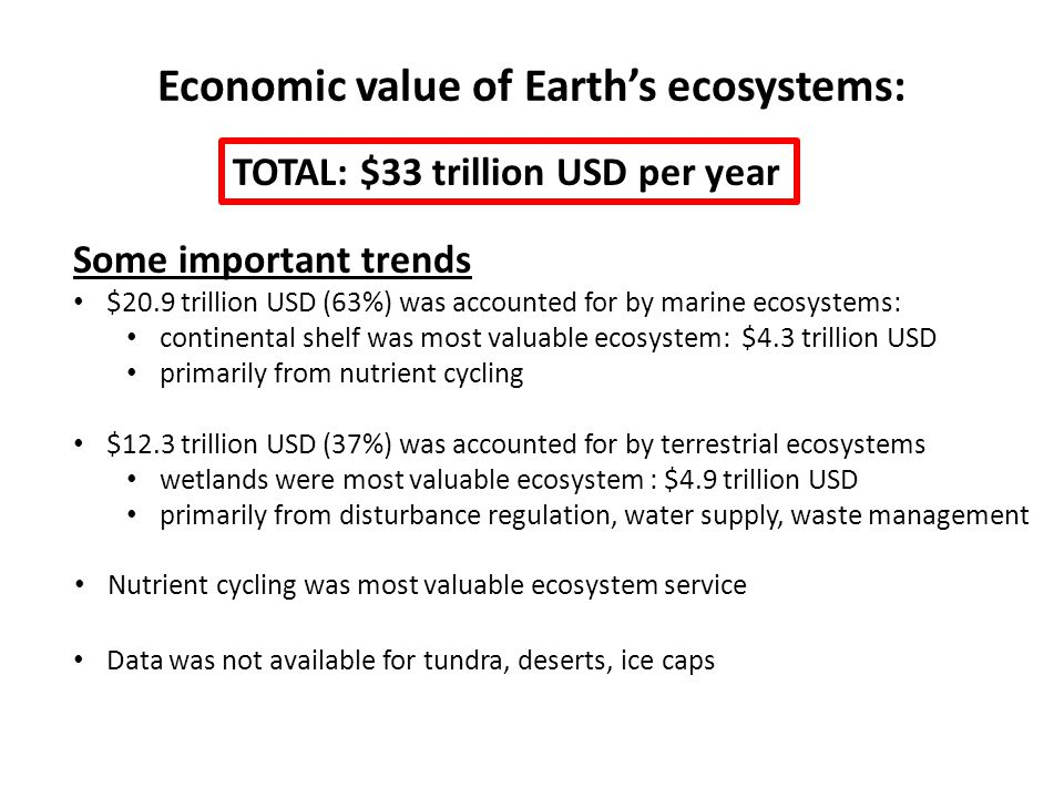 Economic value of Earths ecosystems: Some important trends $20.9 trillion USD (63%) was accounted for by marine ecosystems: continental shelf was most