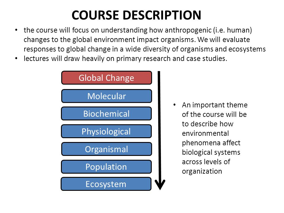 COURSE DESCRIPTION the course will focus on understanding how anthropogenic (i.e. human) changes to the global environment impact organisms. We will e