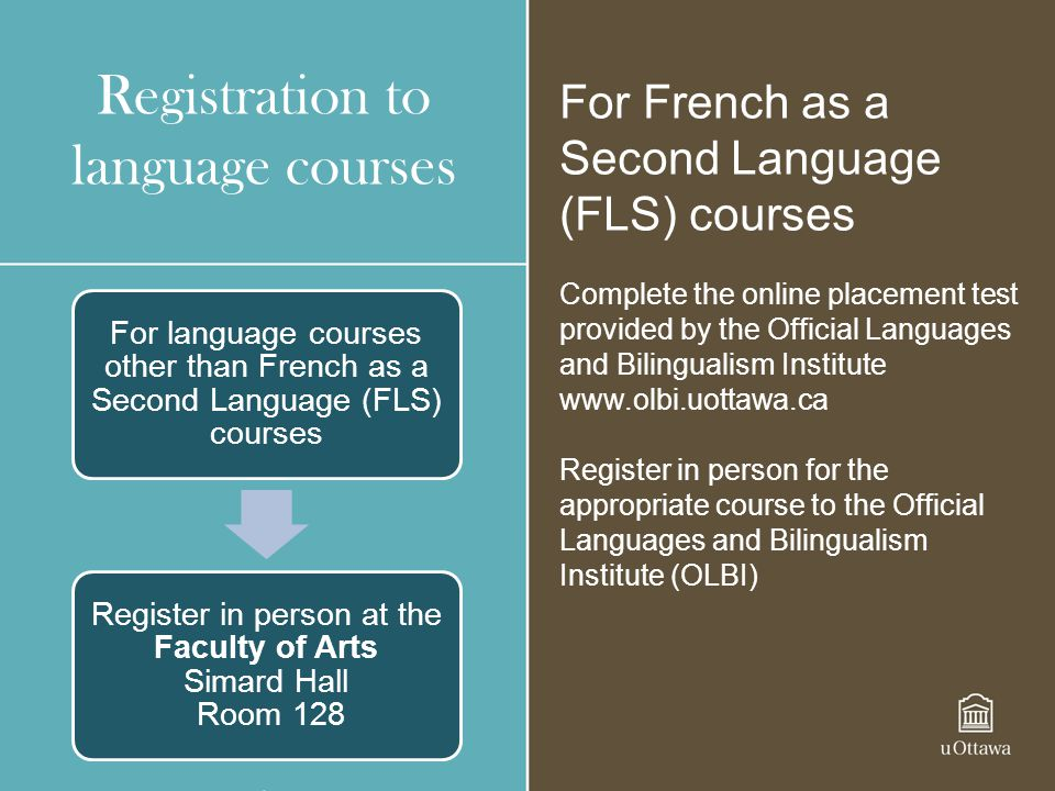 Registration to language courses For French as a Second Language (FLS) courses Complete the online placement test provided by the Official Languages a