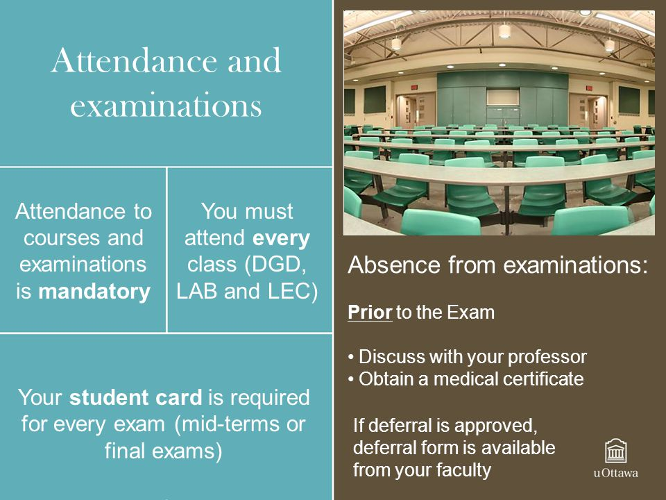 Attendance and examinations Attendance to courses and examinations is mandatory You must attend every class (DGD, LAB and LEC) Your student card is re
