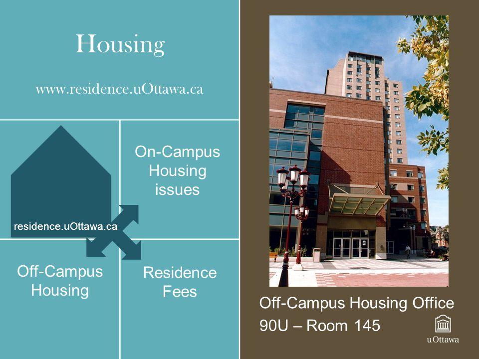 Housing www.residence.uOttawa.ca On-Campus Housing issues Off-Campus Housing Off-Campus Housing Office 90U – Room 145 Residence Fees residence.uOttawa
