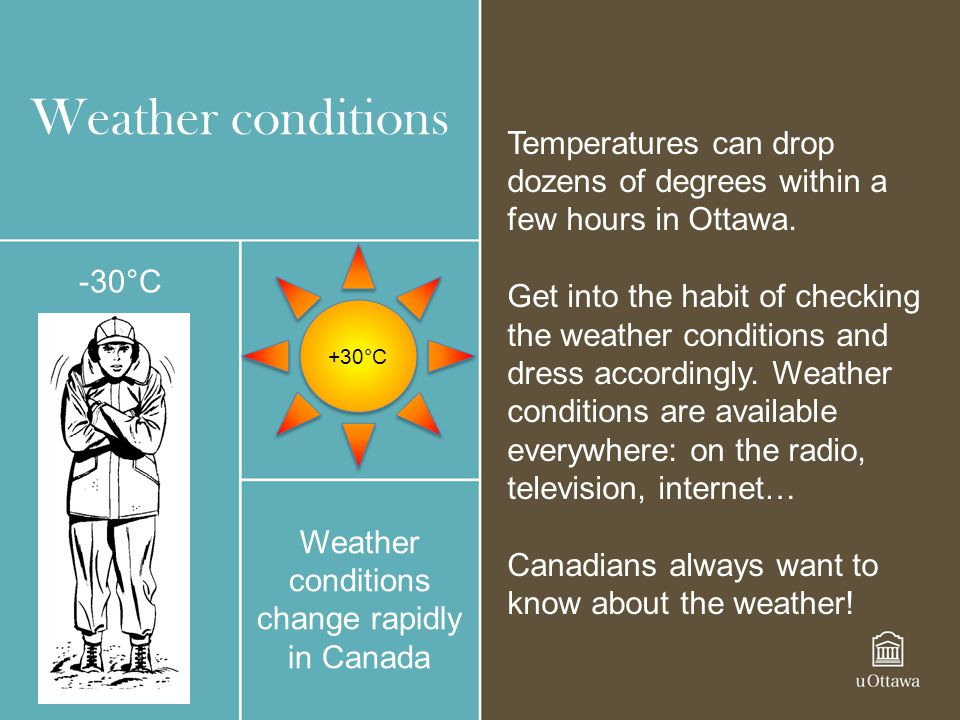 Weather conditions Weather conditions change rapidly in Canada +30°C -30°C Temperatures can drop dozens of degrees within a few hours in Ottawa. Get i