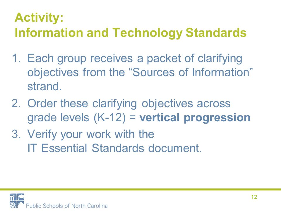 Activity: Information and Technology Standards 1.Each group receives a packet of clarifying objectives from the Sources of Information strand. 2.Order