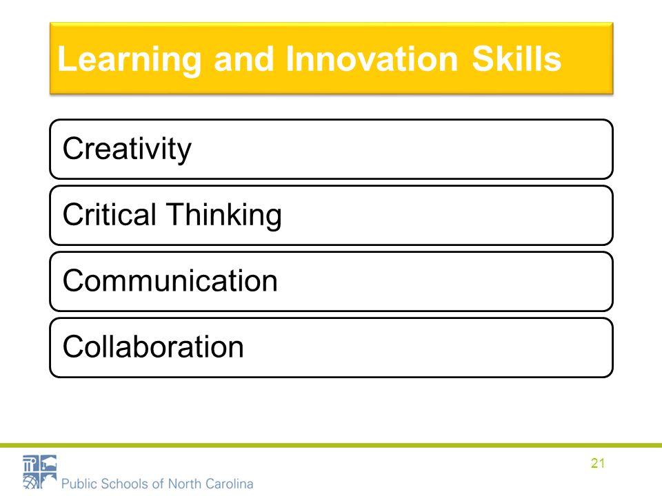 Learning and Innovation Skills CreativityCritical ThinkingCommunicationCollaboration 21