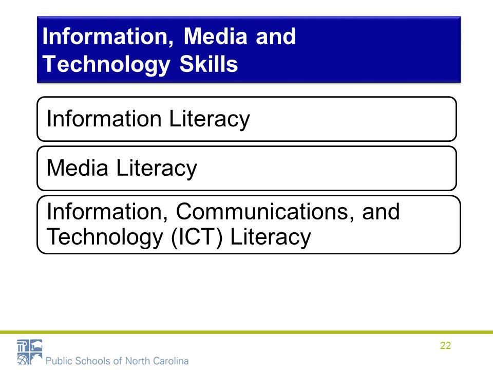 Information, Media and Technology Skills Information LiteracyMedia Literacy Information, Communications, and Technology (ICT) Literacy 22