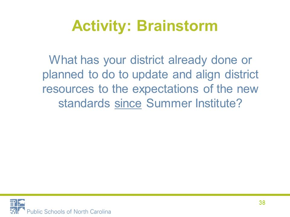 Activity: Brainstorm What has your district already done or planned to do to update and align district resources to the expectations of the new standa