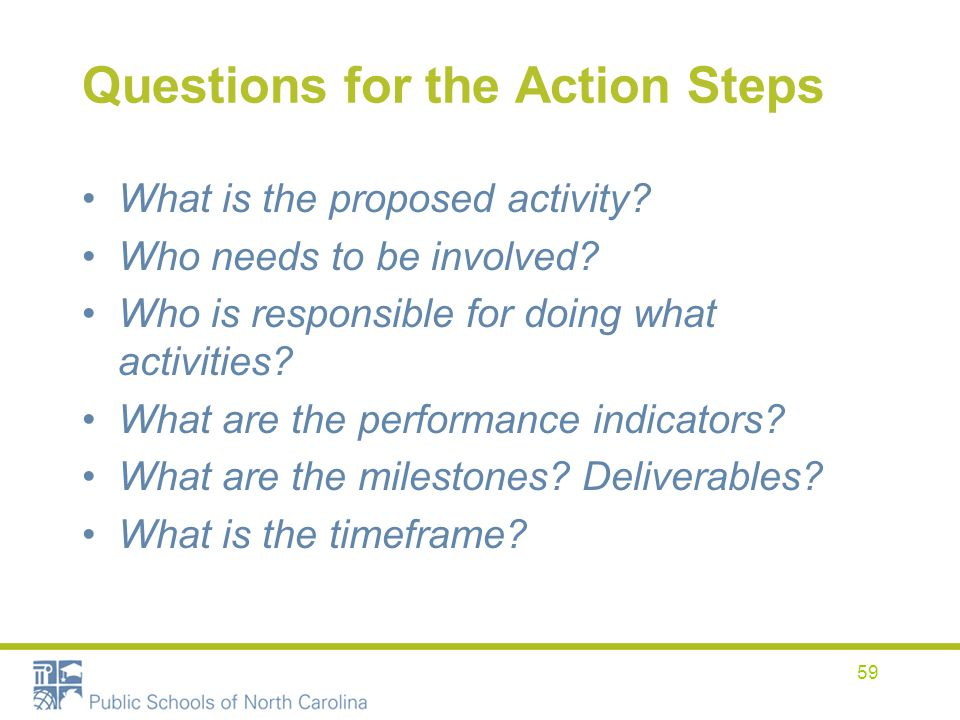 Questions for the Action Steps What is the proposed activity? Who needs to be involved? Who is responsible for doing what activities? What are the per