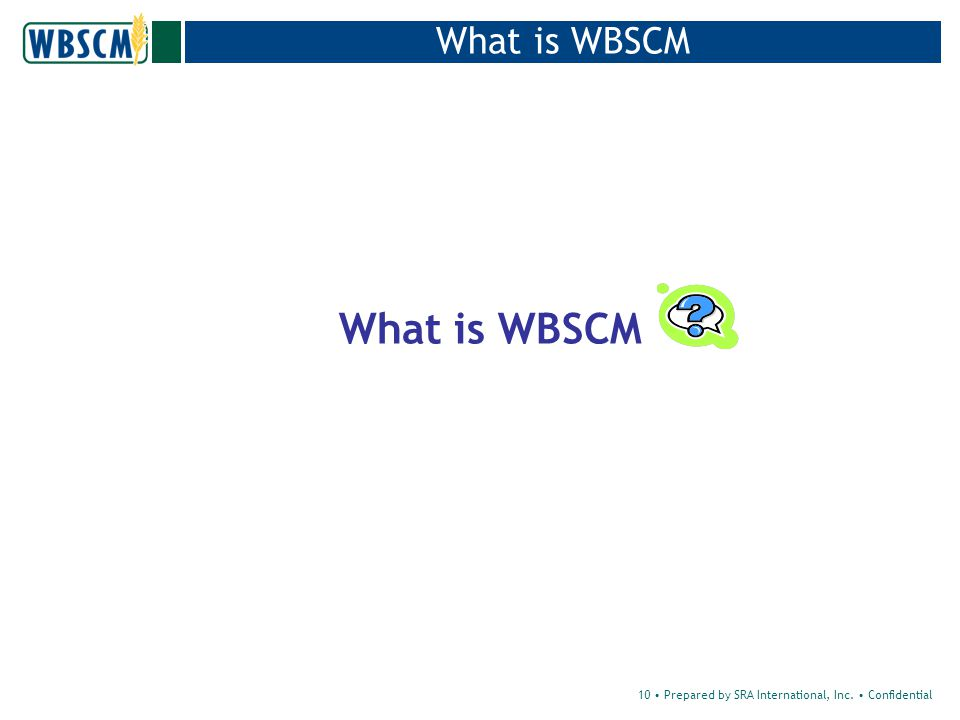 10 Prepared by SRA International, Inc. Confidential What is WBSCM