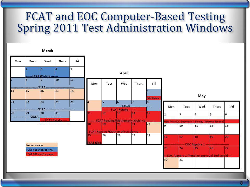 FCAT and EOC Computer-Based Testing Spring 2011 Test Administration Windows 8