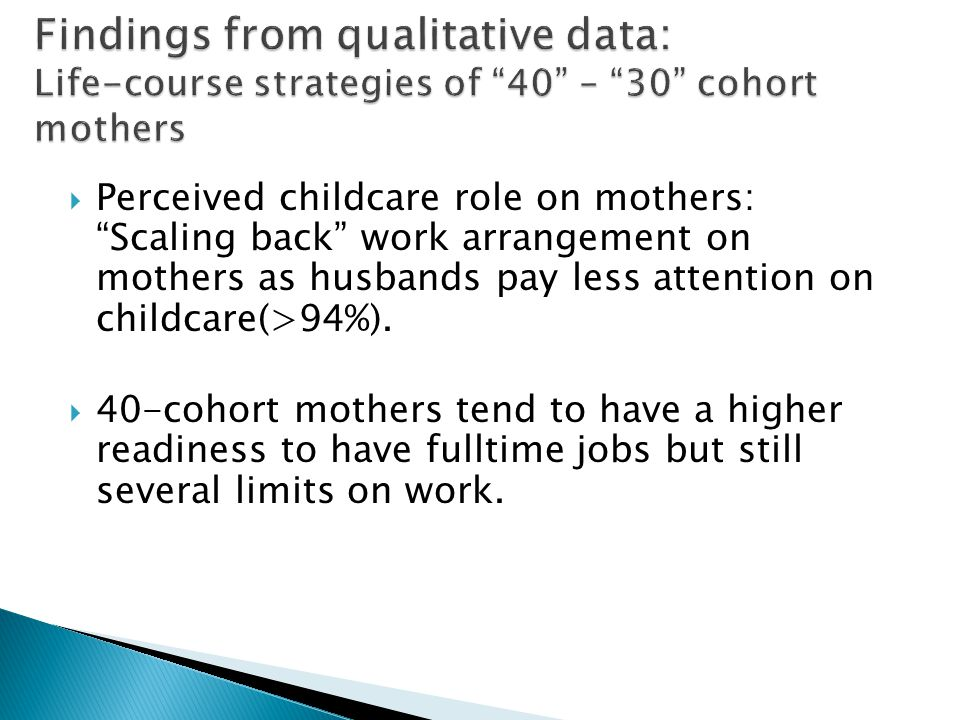 Perceived childcare role on mothers: Scaling back work arrangement on mothers as husbands pay less attention on childcare(>94%).