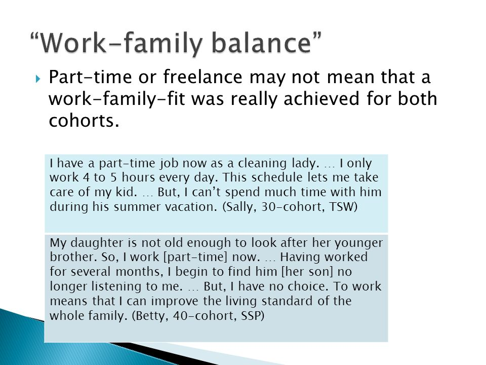 Part-time or freelance may not mean that a work-family-fit was really achieved for both cohorts.