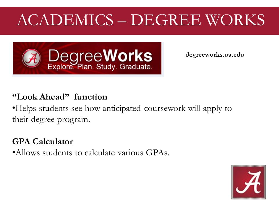 Look Ahead function Helps students see how anticipated coursework will apply to their degree program.