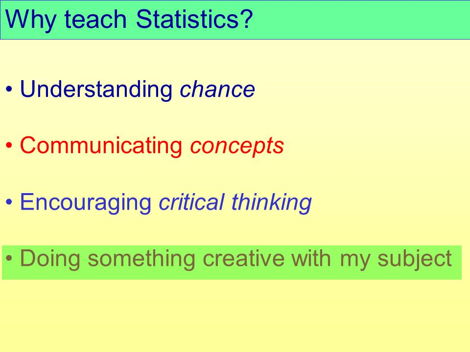 Understanding chance Communicating concepts Encouraging critical thinking Doing something creative with my subject Why teach Statistics?