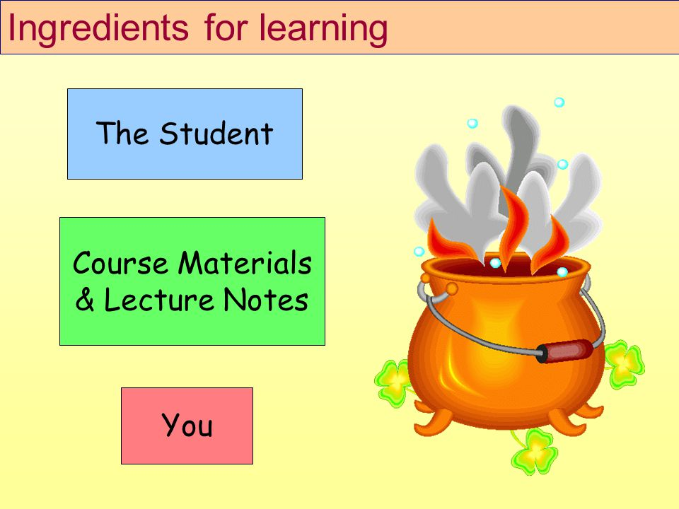 The Student Course Materials & Lecture Notes You Ingredients for learning