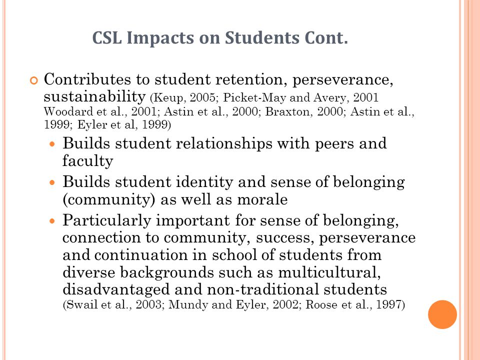 CSL Impacts on Students Cont.