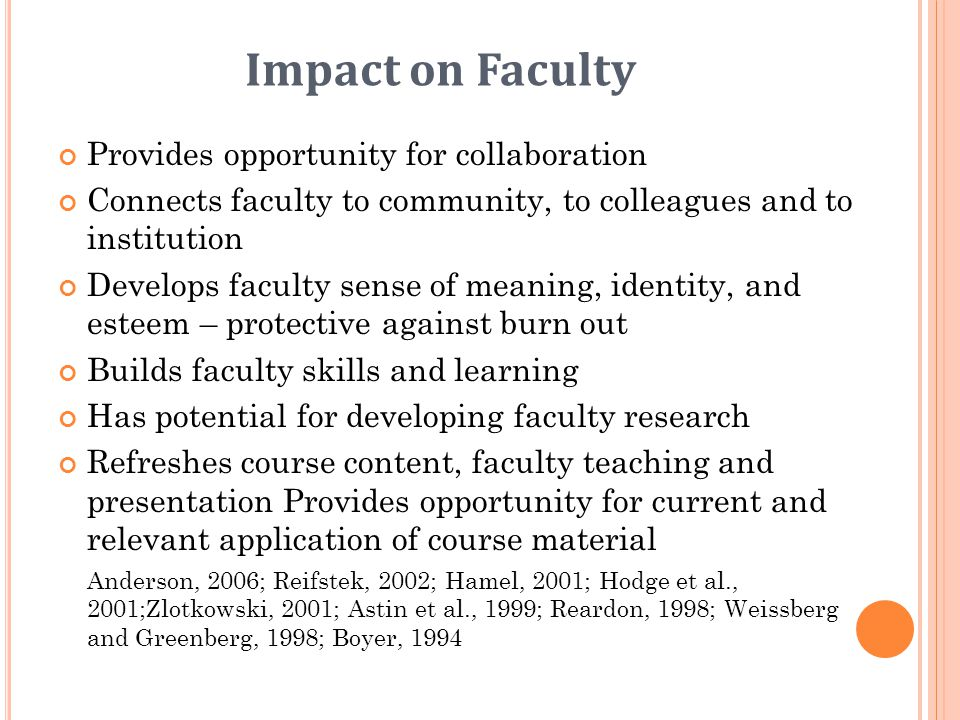 Impact on Faculty Provides opportunity for collaboration Connects faculty to community, to colleagues and to institution Develops faculty sense of mea