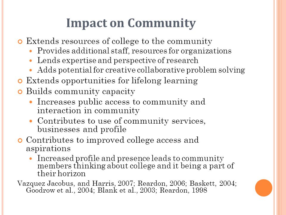 Impact on Community Extends resources of college to the community Provides additional staff, resources for organizations Lends expertise and perspecti