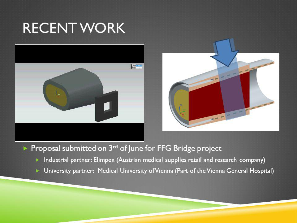 RECENT WORK Proposal submitted on 3 rd of June for FFG Bridge project Industrial partner: Elimpex (Austrian medical supplies retail and research company) University partner: Medical University of Vienna (Part of the Vienna General Hospital)