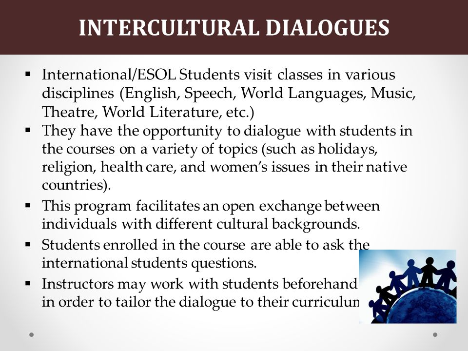 INTERCULTURAL DIALOGUES International/ESOL Students visit classes in various disciplines (English, Speech, World Languages, Music, Theatre, World Literature, etc.) They have the opportunity to dialogue with students in the courses on a variety of topics (such as holidays, religion, health care, and womens issues in their native countries).