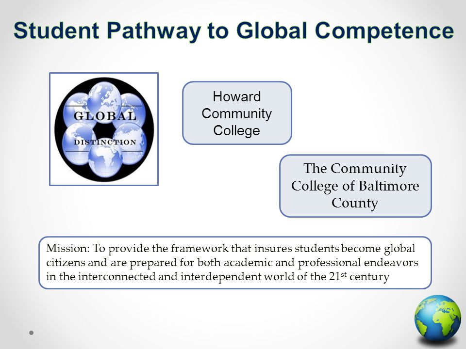 The Community College of Baltimore County Howard Community College Mission: To provide the framework that insures students become global citizens and are prepared for both academic and professional endeavors in the interconnected and interdependent world of the 21 st century