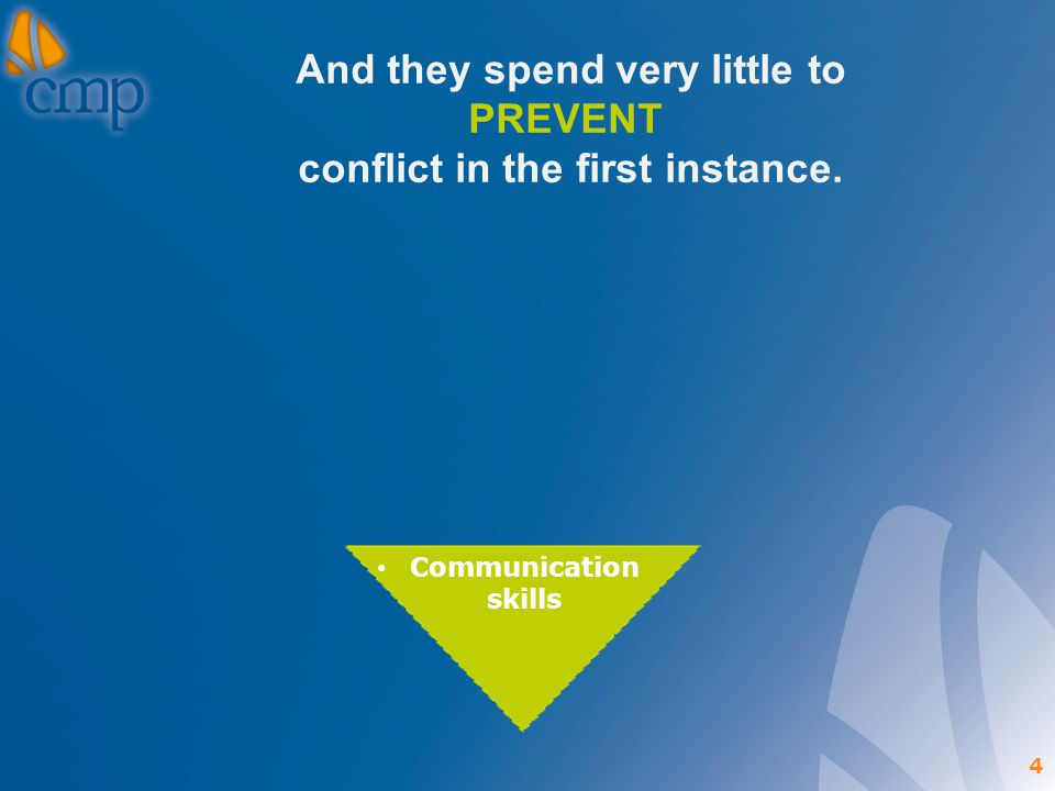 4 And they spend very little to PREVENT conflict in the first instance. Communication skills