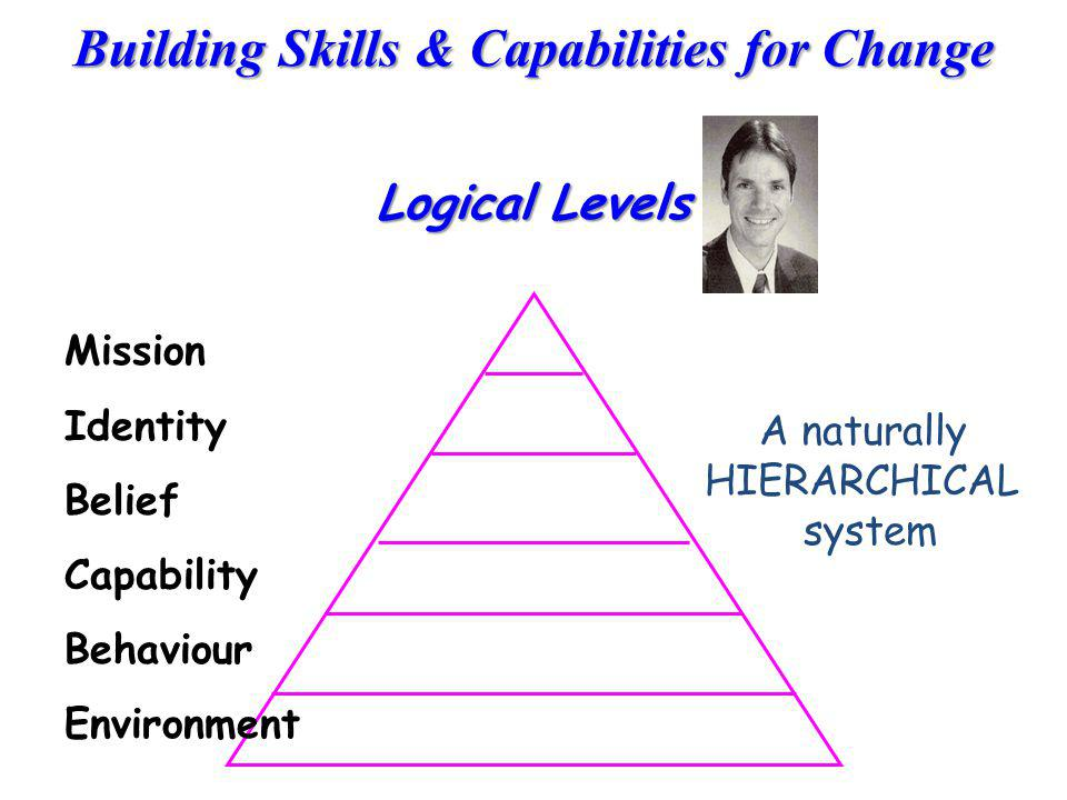 Building Skills & Capabilities for Change Logical Levels Mission Identity Belief Capability Behaviour Environment A naturally HIERARCHICAL system