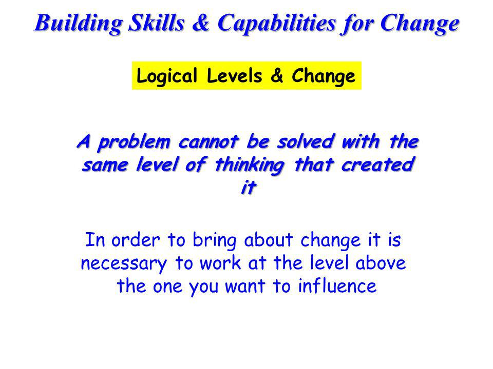 Building Skills & Capabilities for Change A problem cannot be solved with the same level of thinking that created it In order to bring about change it