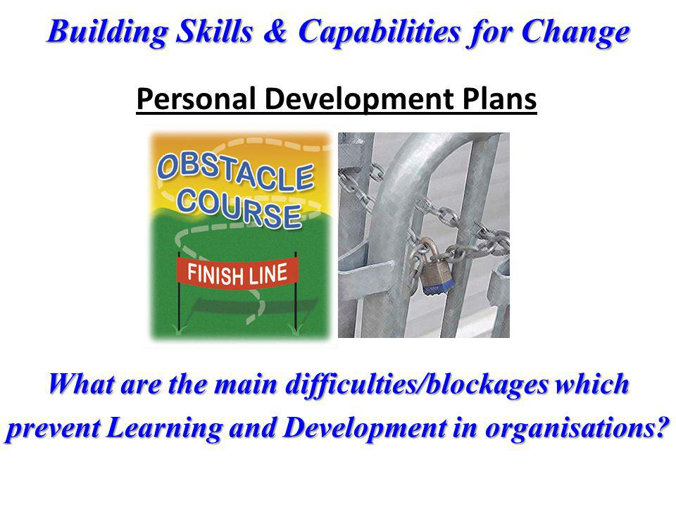 Building Skills & Capabilities for Change What are the main difficulties/blockages which prevent Learning and Development in organisations? Personal D