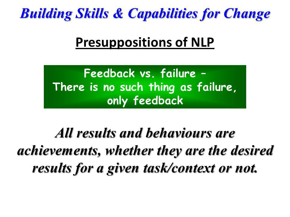 Building Skills & Capabilities for Change Feedback vs. failure – There is no such thing as failure, only feedback All results and behaviours are achie