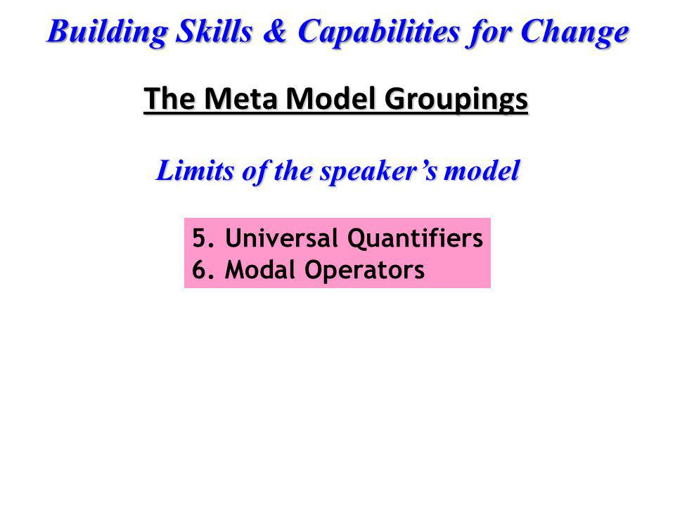 Building Skills & Capabilities for Change Limits of the speakers model 5.Universal Quantifiers 6.Modal Operators The Meta Model Groupings
